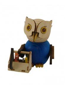 Holzfigur Mini-Eule Handwerker