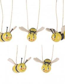 Behang Bienen mit lustigen Gesichtern