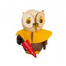 Holzfigur Mini-Eule mit Regenschirm