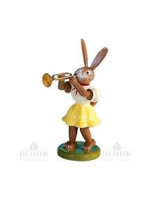 Blank Osterhase mit Trompete, farbig