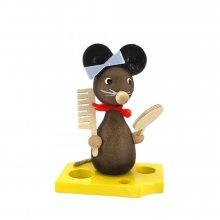 Mäusekind mit Spiegel und Kamm