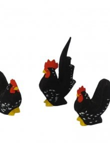 Chabo-Hühner, schwarz mit weißen Tupfen