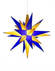 Herrnhuter Stern Kunststoff 13cm blau/gelb (inkl. LED), Edition Oberlausitz