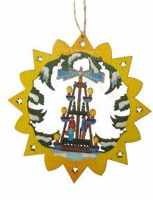 Erzgebirgischer Baumbehang Pyramide, farbig