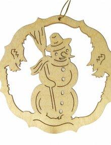 Erzgebirgischer Baumbehang Schneemann, natur