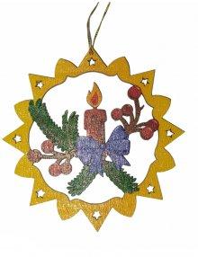 Erzgebirgischer Baumbehang Adventskerze, farbig