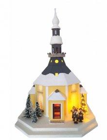 Lichterhaus Seiffener Kirche, groß mit beleuchtetem Baum
