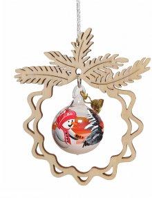 Baumbehang Glaskugel Schneemann, im Zweig