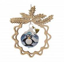 Baumbehang Glaskugel Pinguin, im Zweig