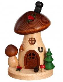 Räucherfigur Pilzhaus Braunkappe rund und flach