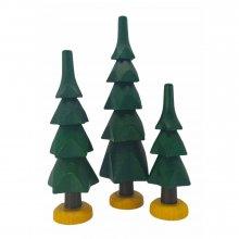 Bäume grün, 3-tlg.