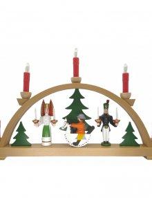 Schwibbogen Engel und Bergmann mit roten Kerzen, elektrisch