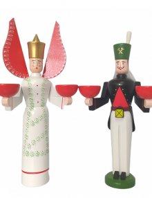 Kerzenhalter Engel und Bergmann, grün getupft