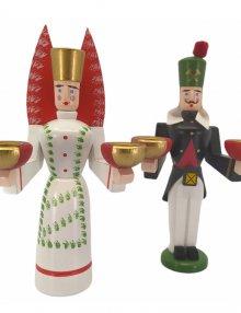 Kerzenhalter Engel und Bergmann getupft, klein