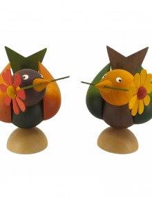 Vögel mit Blume 2-tlg., farbig