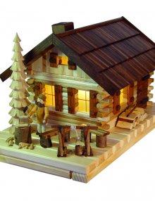 Räucher- Lichterhaus Blockhütte mit Figur