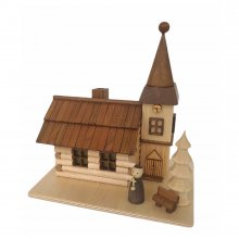 Räucherhaus Dorfkirche mit Figur, LED