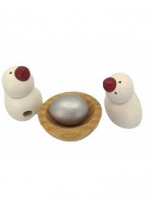 2 Vögel mit Nest und Ei