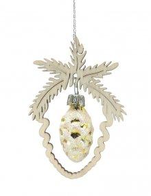 Baumbehang Miniglaszapfen, gold/silber