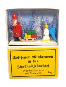 Zündholzschachtel - Weihnachtsmann mit Christkind