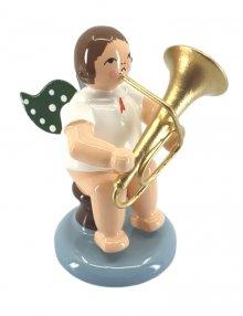 Engel mit Tuba, sitzend, ohne Krone