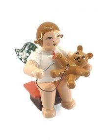 Engel mit Teddy, sitzend, ohne Krone